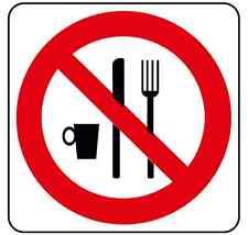 Adesivo segnaletica vietato consumare cibo  120x120 mm. Do not eat here sticker