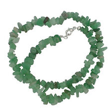 "AVENTURINE 18"" CHIP NECKLACE W/ SS CLASP A+ GREEN BEAD"