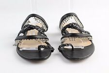 Gianvito Rossi Black Strappy Sandals With Silver Hardware Size 38/8