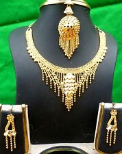 22K Gold Plate Indian Fashion Wedding Necklace Earrings Tikka Set c