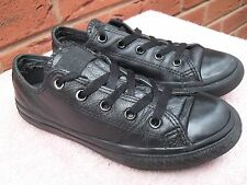CONVERSE ALL STAR OX BLACK MONO LEATHER PUMPS / TRAINERS UK SIZE 1  EU 33