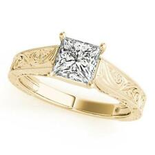 LADIES 14k YELLOW GOLD TRELLIS SEMI-MOUNT PRINCESS CUT WEDDING ENGAGEMENT RING