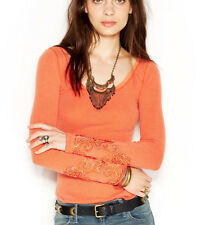 Free People 'Masquerade' Long Sleeve Beaded Cuff Thermal Knit Top Orange S $68