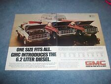 "1982 GMC 6.2L Diesel Vintage Pickup Jimmy Suburban 2pg Ad ""One Size Fits All"""