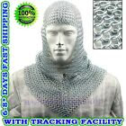 Medieval Knights Functional Butted Chain Mail V NECK Hooded Scarf Coif