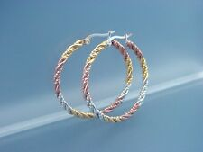 stainless steel hoop earrings in silver, gold and rose gold colors 1558