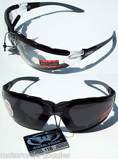 2 Padded Motorcycle Glasses Sunglasses Smoke and Clear Mirror goggles Best Price