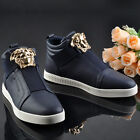 Mens Black High Top Hip Hop Sneakers Metal Decor Casual Fashion England Shoes