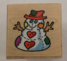 Country Snowman Snow Man  Wooden Rubber Stamp