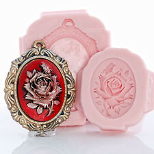 Rose Cameo Silicone Mold & Cameo Setting Mold Set Clay Resin Soap Food Safe (266