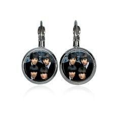 **BEATLES** ~Silver Plated Glass Domed Leverback Earrings ~~USA Seller