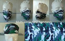 'CAMO'  Head/Face/Mask/Neck Multi-wear tube Bandana/Durag. SPF5 Biker/motorcycle