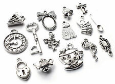 15 x Mix Alice in Wonderland Silver Charm Pendant Rabbit/TeaPot/Key/Clock/Frame