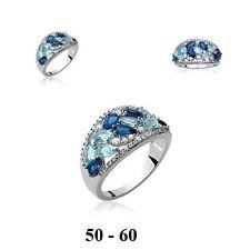Grosse Bague Rhodié T60 Pavé de Diamant Cz Bleu Argent Massif 925 Dolly-Bijoux
