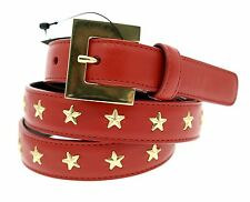 YSL Saint Laurent Belt Goya Superlux Leather With Studs Red Medium NWT