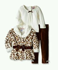 Baby Girls' 3 Piece Fur Jacket Set Velvet Bow Cheetah (18 months)