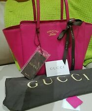 NEW $1200 GUCCI TOTE shoulder gg pink fuschia pebbled leather AUTHENTIC SATCHEL