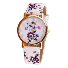 2016 Fashion Printed Flower Leather Band Analog Quartz Dress Wrist Watch Hot
