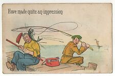 """""""Have Made Quite An Impression"""" Early Fishing, Fish Vintage Fisherman Postcard"""