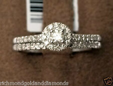 Real Diamonds White Gold Round Halo Style Engagement Bridal Wedding Ring Set