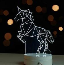 3D Night Lamp Light Home Decor Unicorn Horse Bedside Electronic Gift