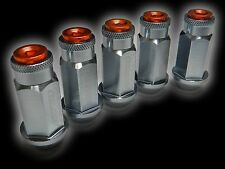 20PC 12X1.25MM 50MM EXTENDED ALUMINUM RACING CAPPED LUG NUTS GUNMETAL/ORANGE