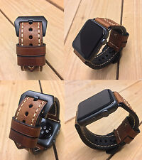 Brown Leather Watch Strap Band for Apple Watch Series 1 2 42mm Black Fixings