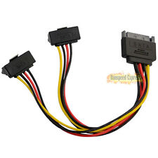 Serial ATA SATA 15 Pin Male to 2 Splitter Female 90 Degree Power Adapter Cable
