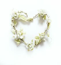 ROSE GARLAND CREAM HEART WREATH WEDDING DECORATION - CHIC & SHABBY FLOWERS
