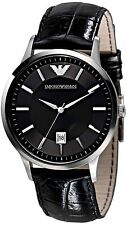 NEW EMPORIO ARMANI AR2411 MENS STEEL LEATHER WATCH - 2 YEAR WARRANTY