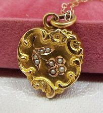 Vintage / Antique Victorian 14ct Gold Seed Pearl Heart Pendant + 9ct Gold Chain