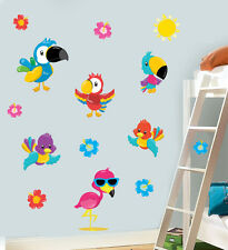 Childrens Colourful Tropical Birds 14 Pack Wall Art Stickers Transfers Decals