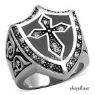MEN'S ROUND CUBIC ZIRCONIA SILVER STAINLESS STEEL CELTIC CROSS RING SIZE 8-13