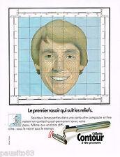 PUBLICITE ADVERTISING 065  1980  GILETTE CONTOUR rasoir qui suit les reliefs