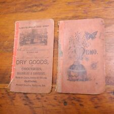 Pair of Vintage Early 1900s Grocery List Small Memo Notebooks w/ Poems