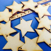 6cm /60mm Wooden Blank Christmas Stars Hanging Bunting Holes MDF Decor Laser Cut