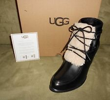 UGG WOMEN'S ANALISE EXPOSED FUR BLACK BOOT SIZE 11 NEW IN BOX