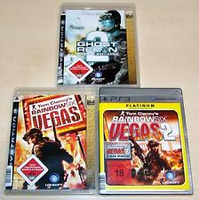 3 PLAYSTATION 3 SPIELE SAMMLUNG - TOM CLANCY'S VEGAS 1 2 - GHOST RECON ADVANCED