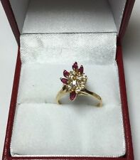 14k Yellow Gold Ruby And Diamond Ring.