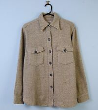 Mens Vintage Wool CPO Shirt Grey & Beige Overshirt Striped Pattern Small S