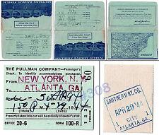 PULLMAN Co. SOUTHERN RAILWAY USA WW2 TICKET - 29.04.1944 New York to Atlanta GA