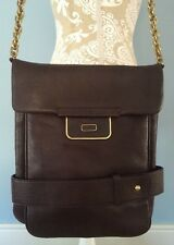 KENNETH COLE NY Unisex Brown Leather Messenger Shoulder Laptop Bag w/Chain Strap