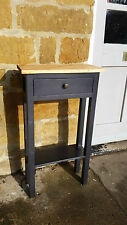 H80cm W45 D20 BESPOKE CONSOLE STAND TABLE WITH DRAWER BLACK SATIN WARM OAK TOP