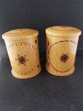Pair 2 Vintage Pokerwork Wooden Tea Caddy Storage Jars Poker work Wood Design