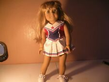 AMERICAN GIRL DOLL JLY #32 Blonde Hair Blue Eyes cheerleader outfit red white