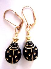 Black Etched LadyBug EARRINGS Gold Interchangeable Leverbacks Mothers Day Gift