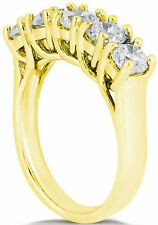 1 ct 5 Round Diamond Lucida style Band, 14k Yellow Gold Wedding Anniversary Ring