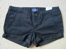 WOMENS AMERICAN EAGLE AEO BLACK LOW RISE SHORTIE STRETCH JEAN SHORTS SIZE 0 NWT