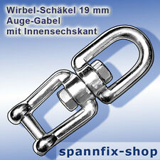 Wirbel-Schäkel 19 mm Auge-Gabel A4 Edelstahl Wirbelschäkel Schäkel Ankerkette