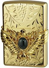 Zippo Oil Lighter Hand Carving Sculpture Wing Onyx Gold Plating Japan Limited